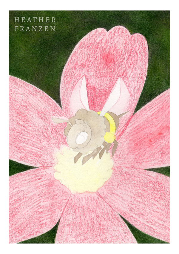 5. Pink Petals  Using Rose Carmine (#124), I quickly fill in the cosmos' petals. Maintaining a sharp point is not too important except for tight areas, such as around the bee's legs.