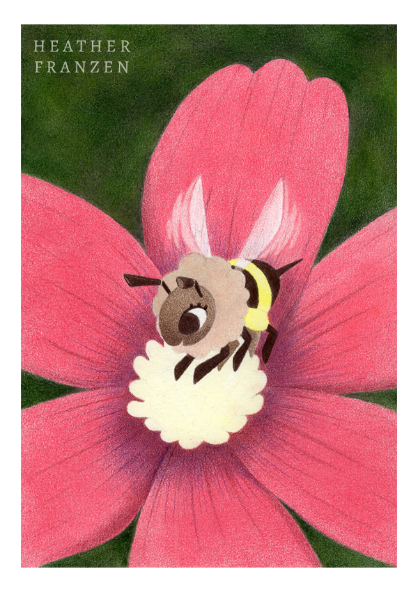 9. Bee, Finally!  Using Walnut Brown (#177), Nougat (#178), Light Yellow Ochre (#183), Naples Ochre (#184), Raw Umber (#180), and Ivory (#103), I color the bee. I first establish my darks and work my way up to the lighter parts.
