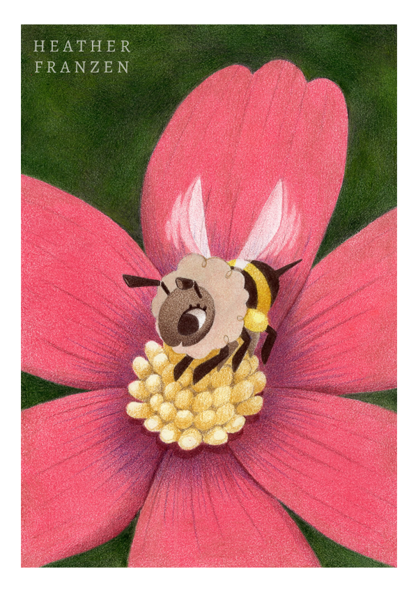 10. Cleaning Up  I clean up the bee and add more shading. The yellow part of the flower is lightly outlined in Nougat and shaded with yellows and light browns.