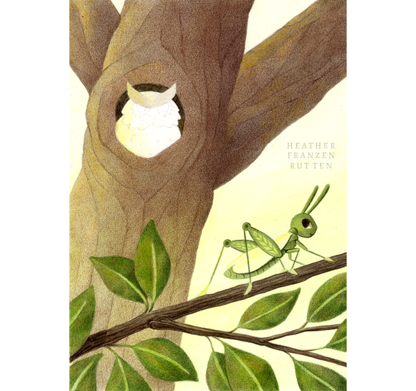 6) Finish the Tree  I fade the colors at the bottom of the tree so that the grasshopper's branch can stand out.