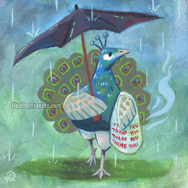 ☂️🦚🥡 (umbrella, peacock, take out)