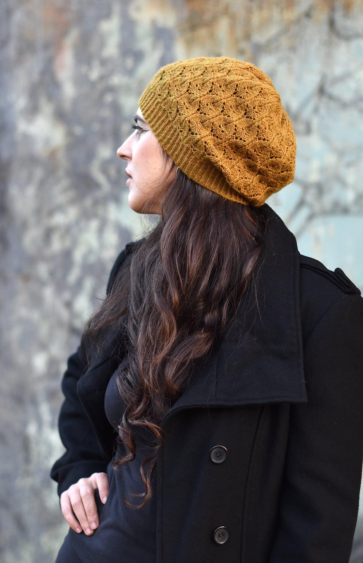 Cannetella slouchy lace Hat knitting pattern