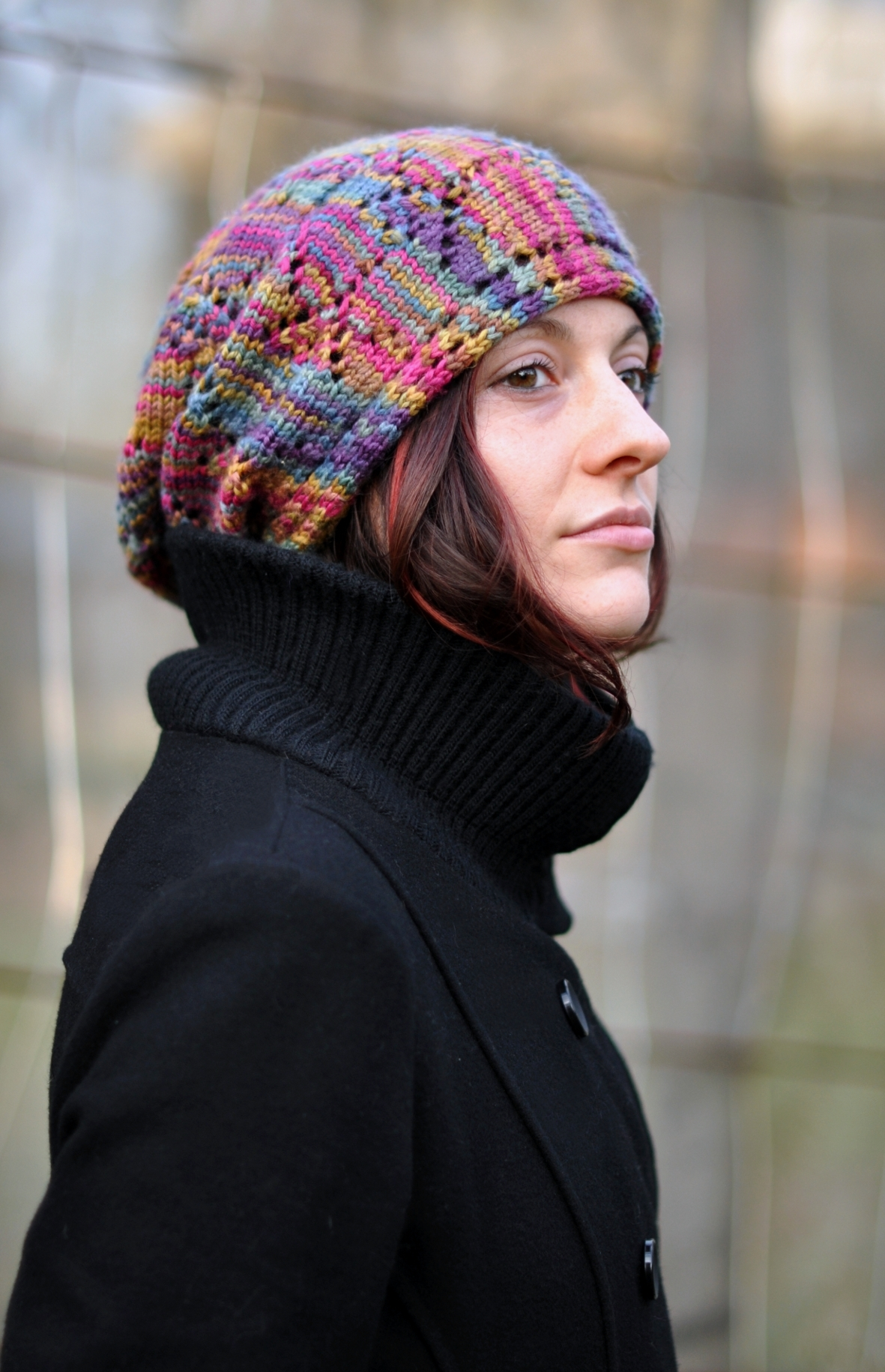 Ziggy sideways knit lace Hat pattern for hand dyed yarns
