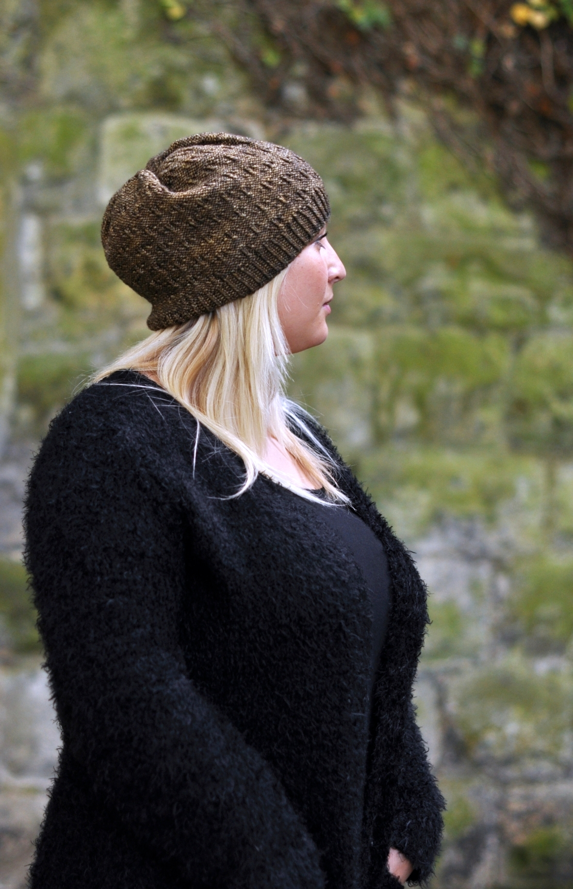 Woodland Slouch textured Hat knitting pattern