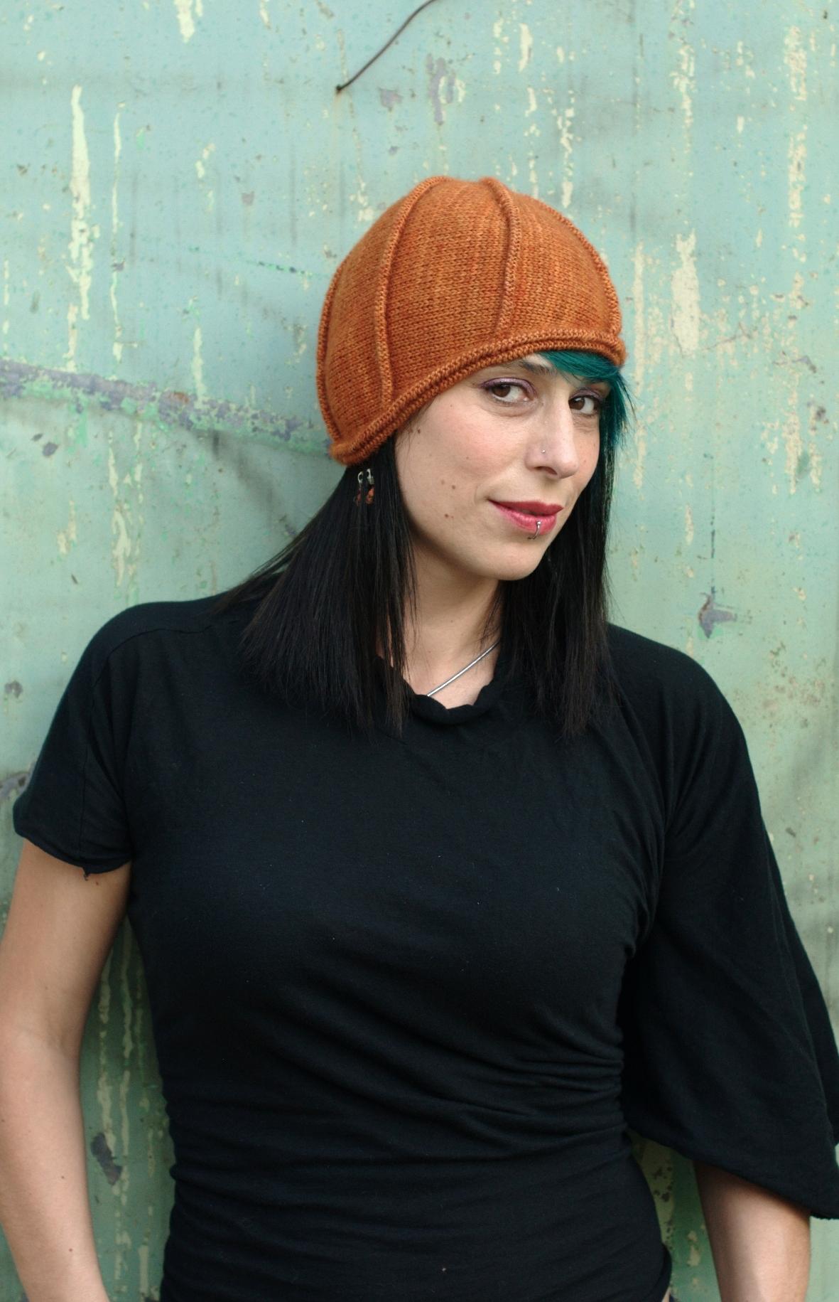 Asymloche sideways knit Hat pattern