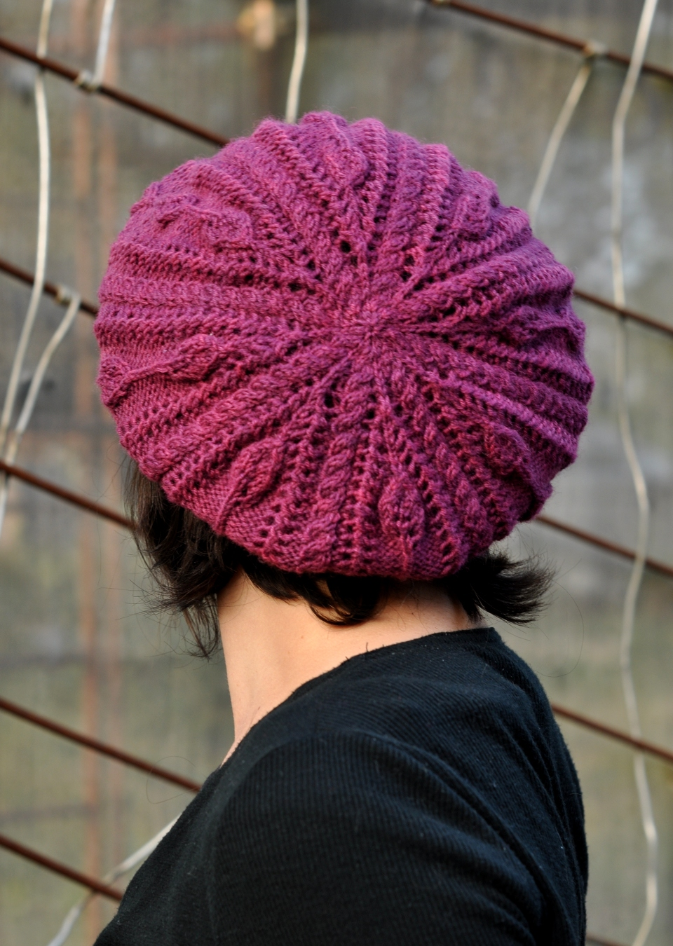 Bellefleur cable & lace beret knitting pattern