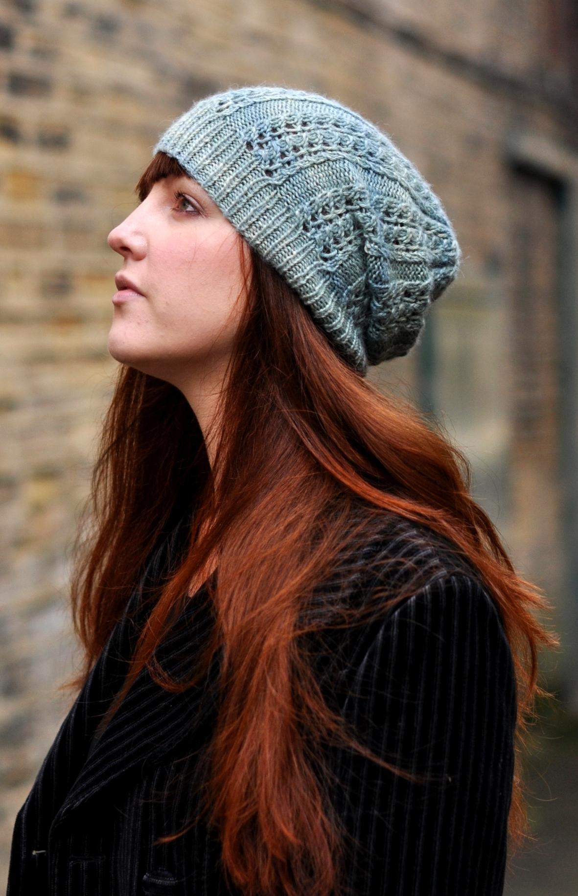 Castiel slouchy lace Hat knitting pattern