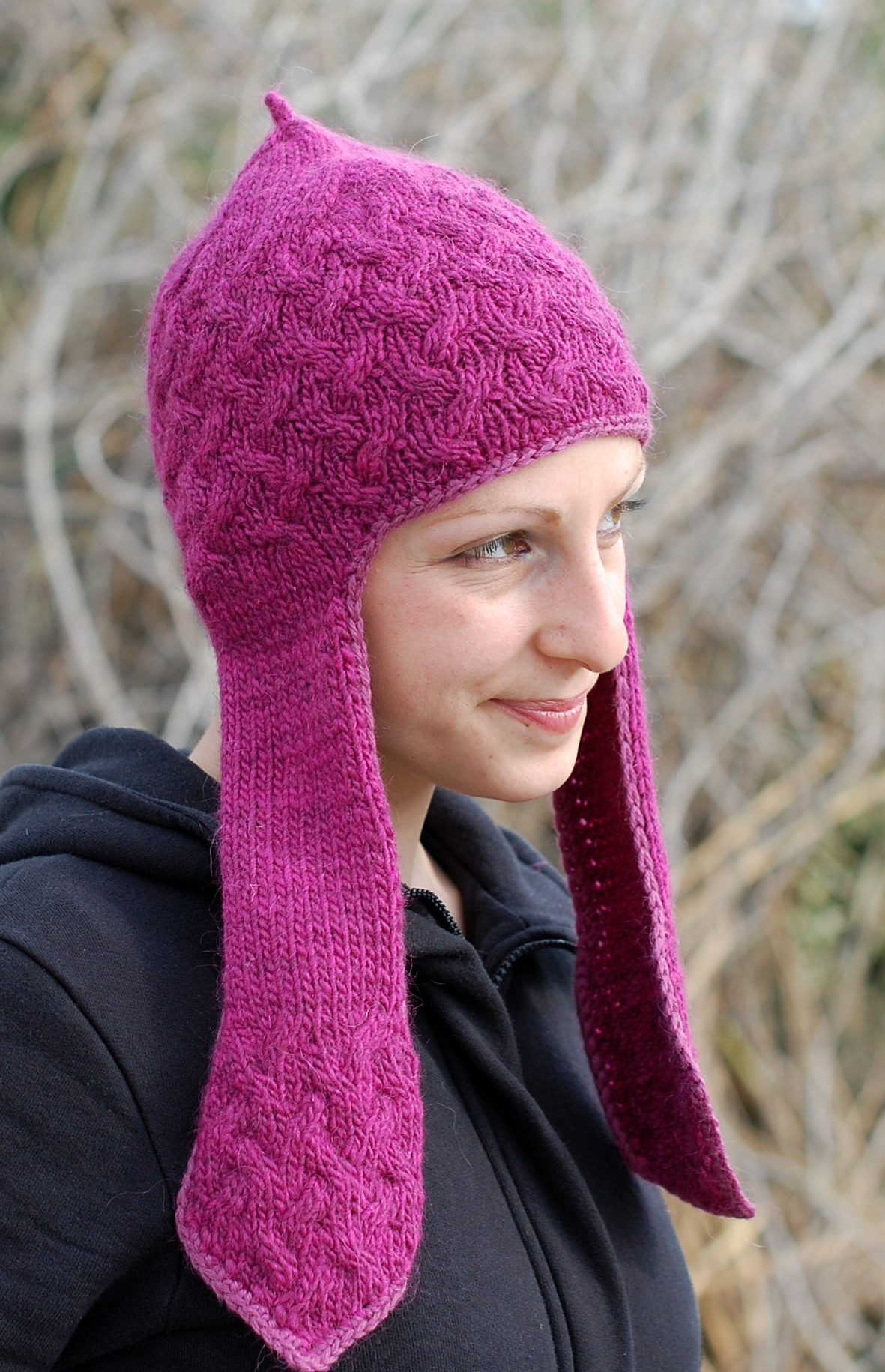 Flappy Cabler chullo pixie Hat knitting pattern