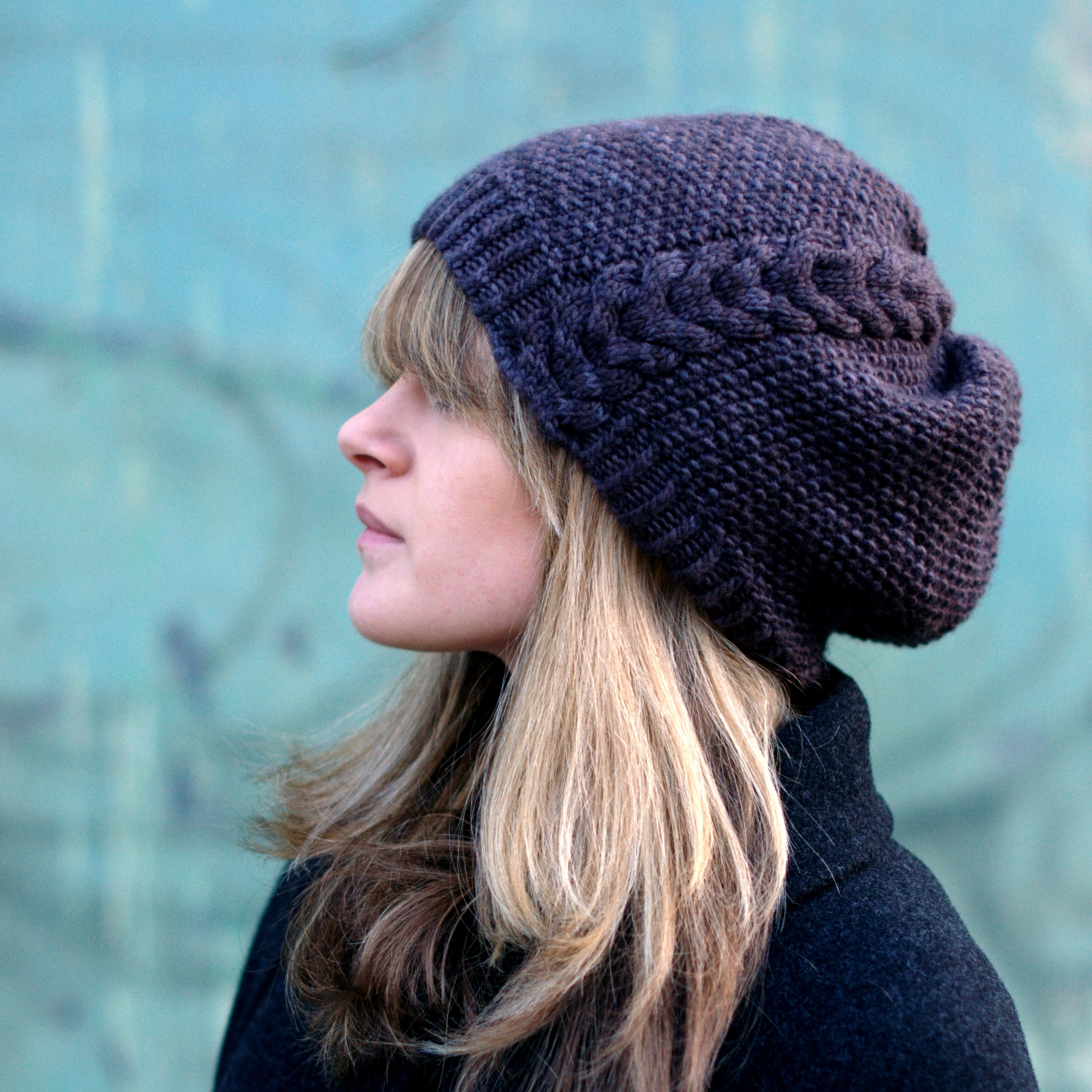 Kernmantle slouchy cable Hat knitting pattern