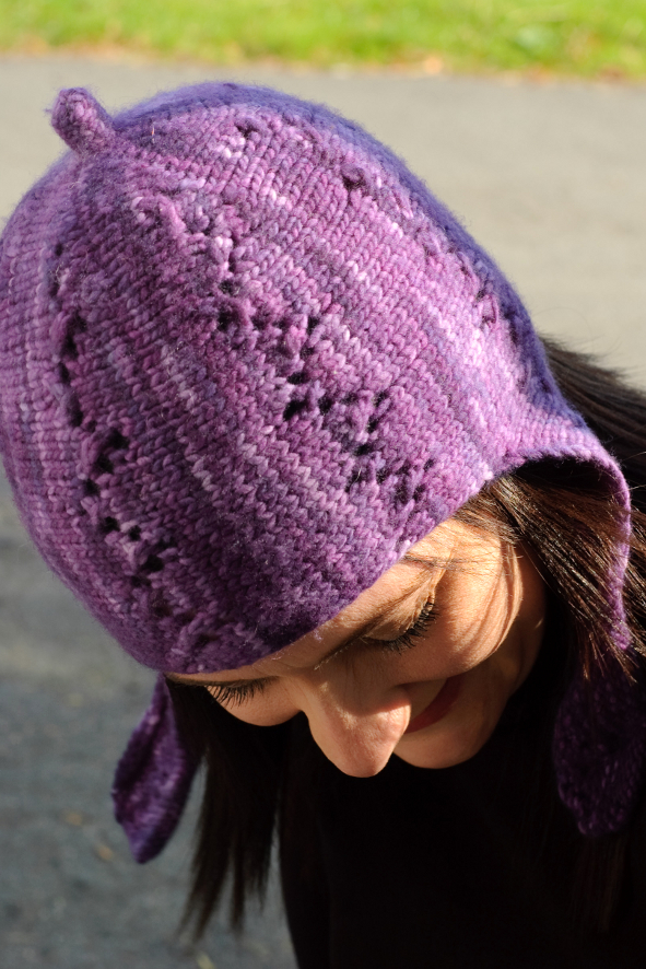 Lucy sideways knit chullo Hat pattern