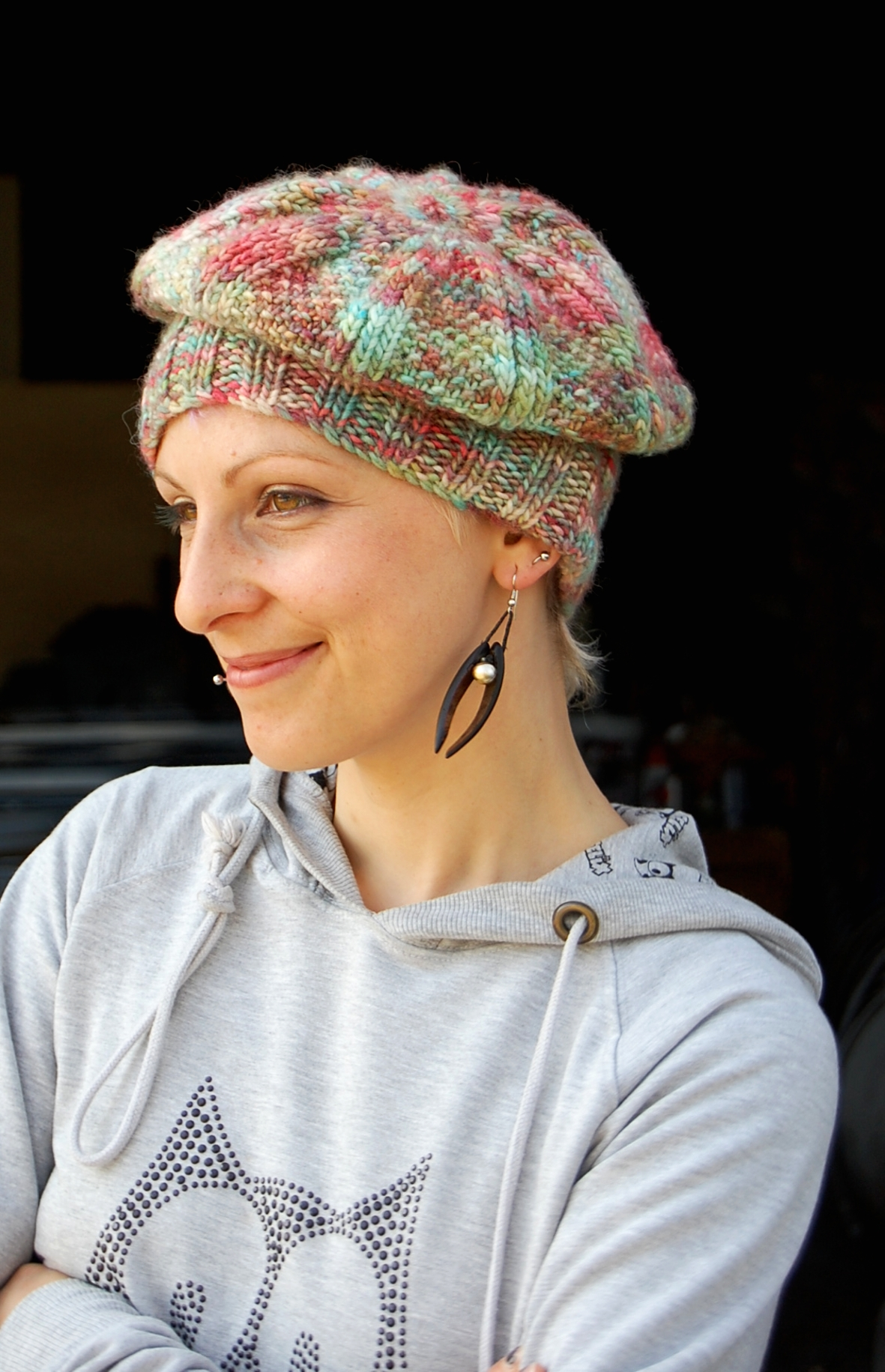 Marble Muffine slouchy beret knitting pattern