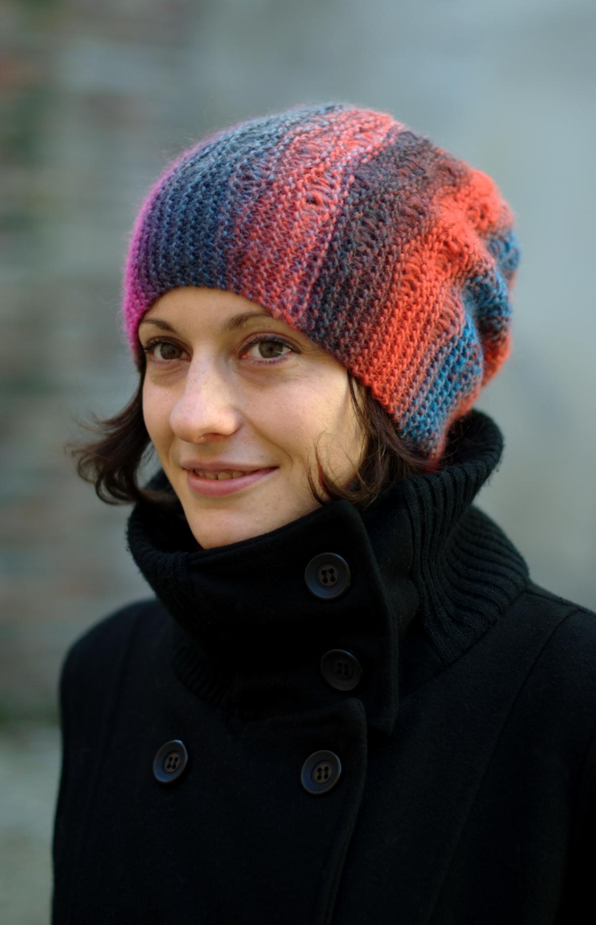 Marina sideways knit slouchy lace Hat pattern