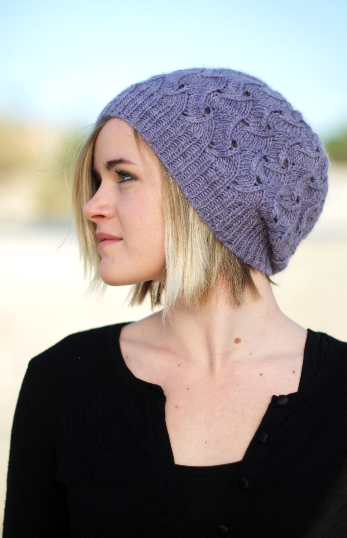 QL Slouch slouchy lace Hat knitting pattern