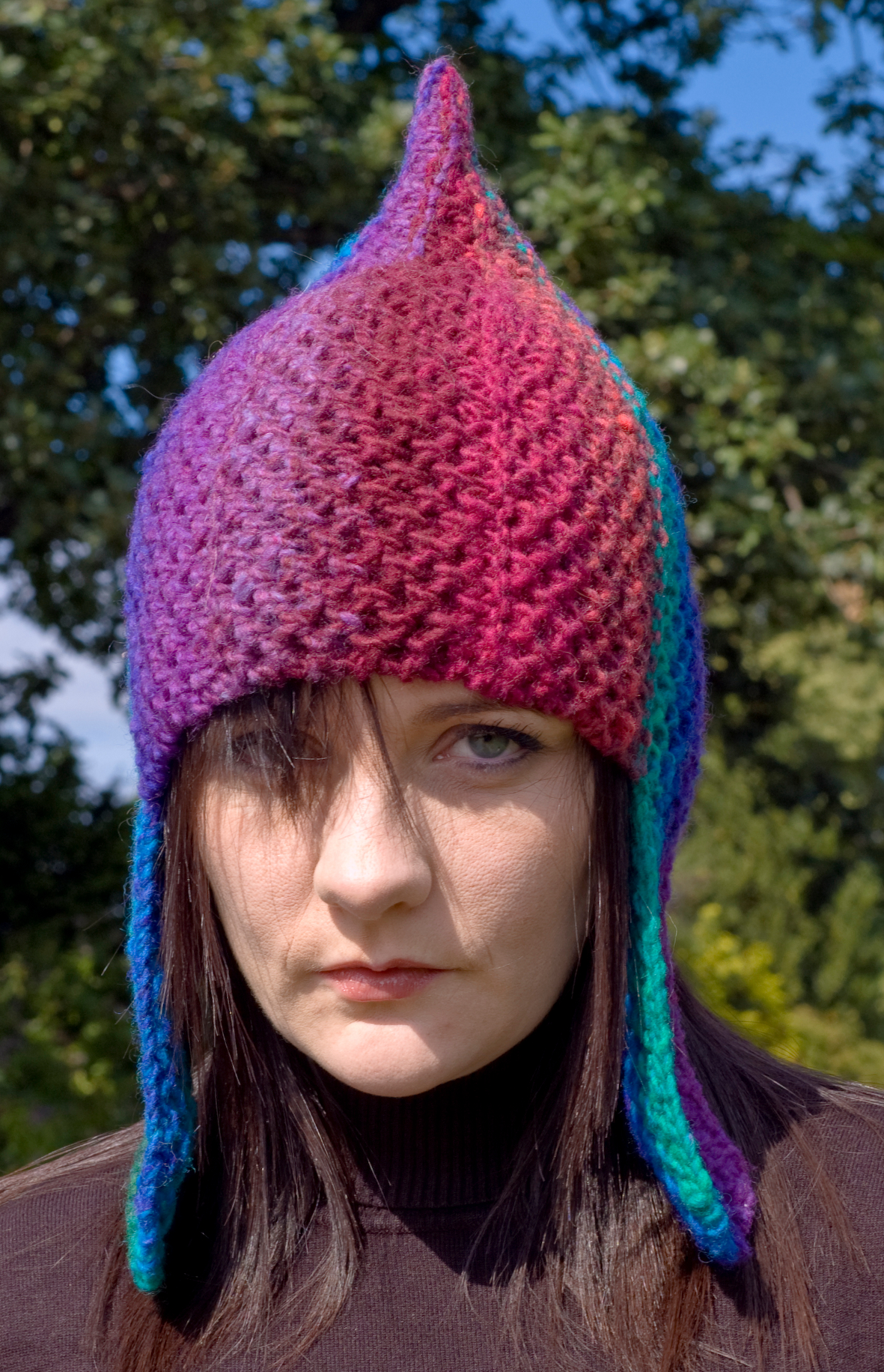 Rainbow Warrior chullo pixie Hat knitting pattern