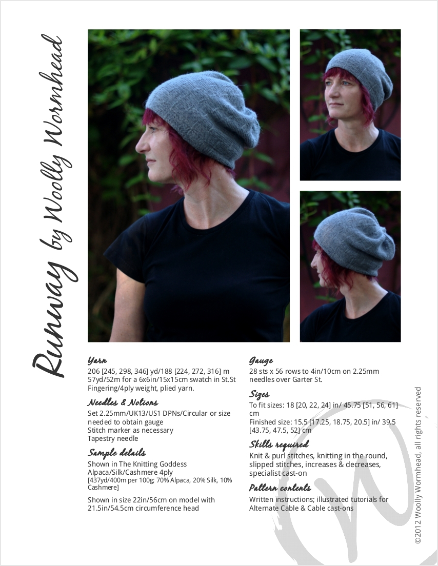 Runway textured slouchy Hat knitting pattern
