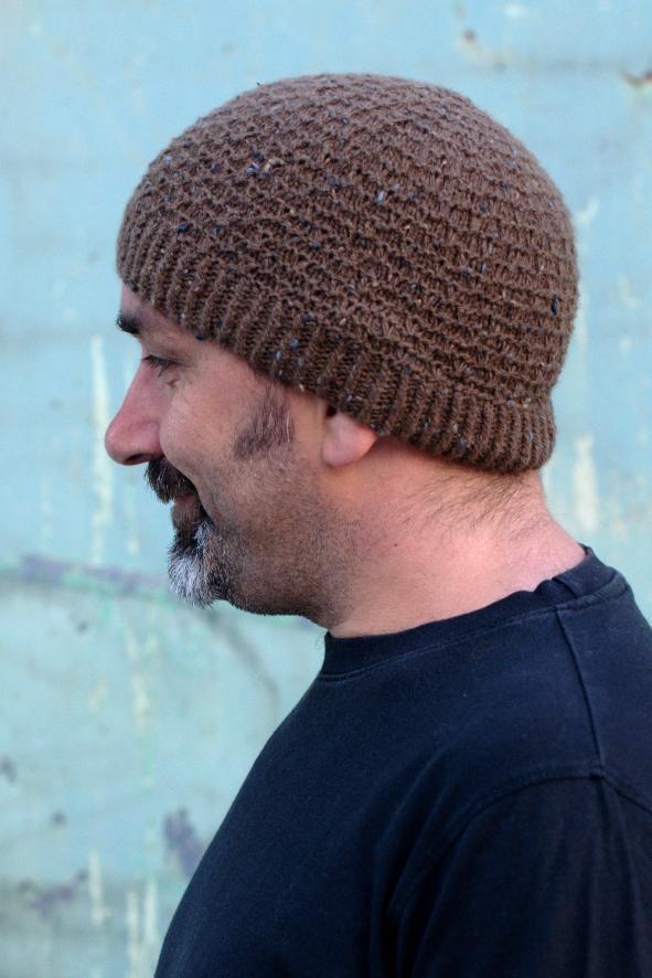 Slipped Ridge textured beanie knitting pattern