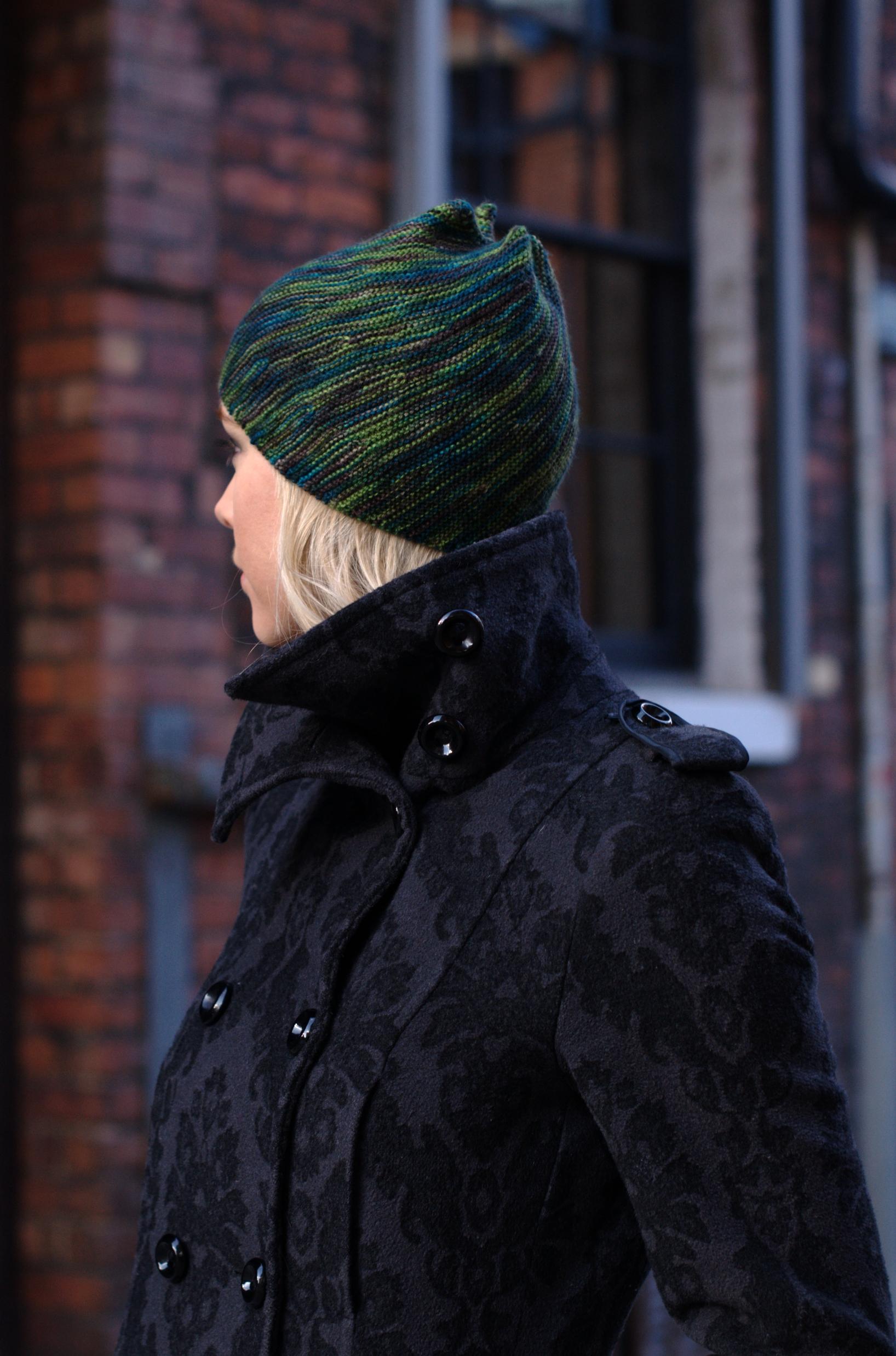 Vortice sideways knit Hat pattern for sock yarn