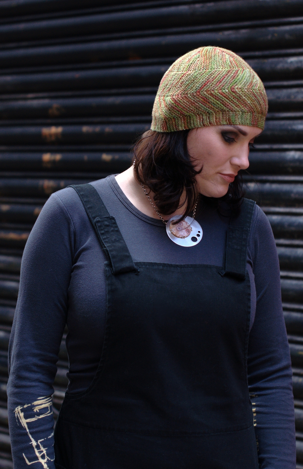 Dancette sideways knit Hat pattern for sock yarn