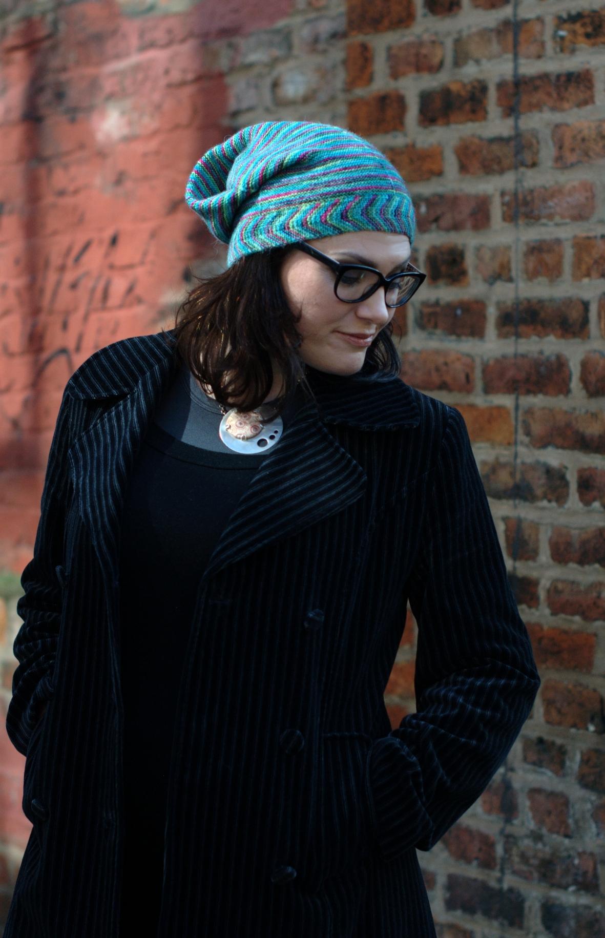Gallone slouchy Hat knitting pattern for sock yarn