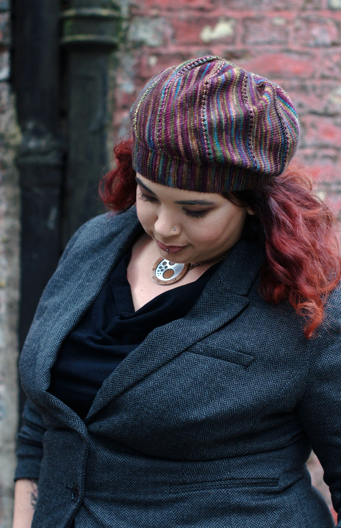 Lamitra bias sideways knit Hat pattern for hand dyed yarns