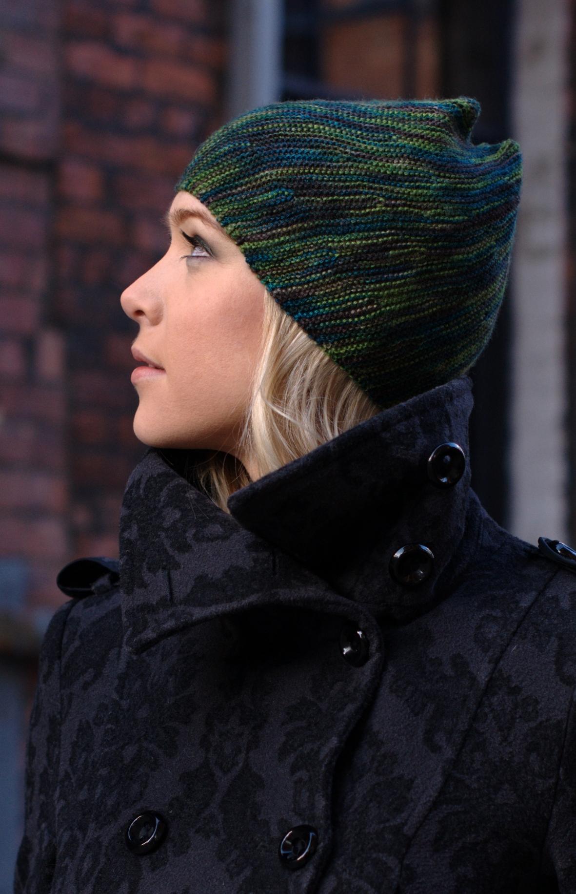 Vortice bias sideways knit Hat pattern for sock yarn