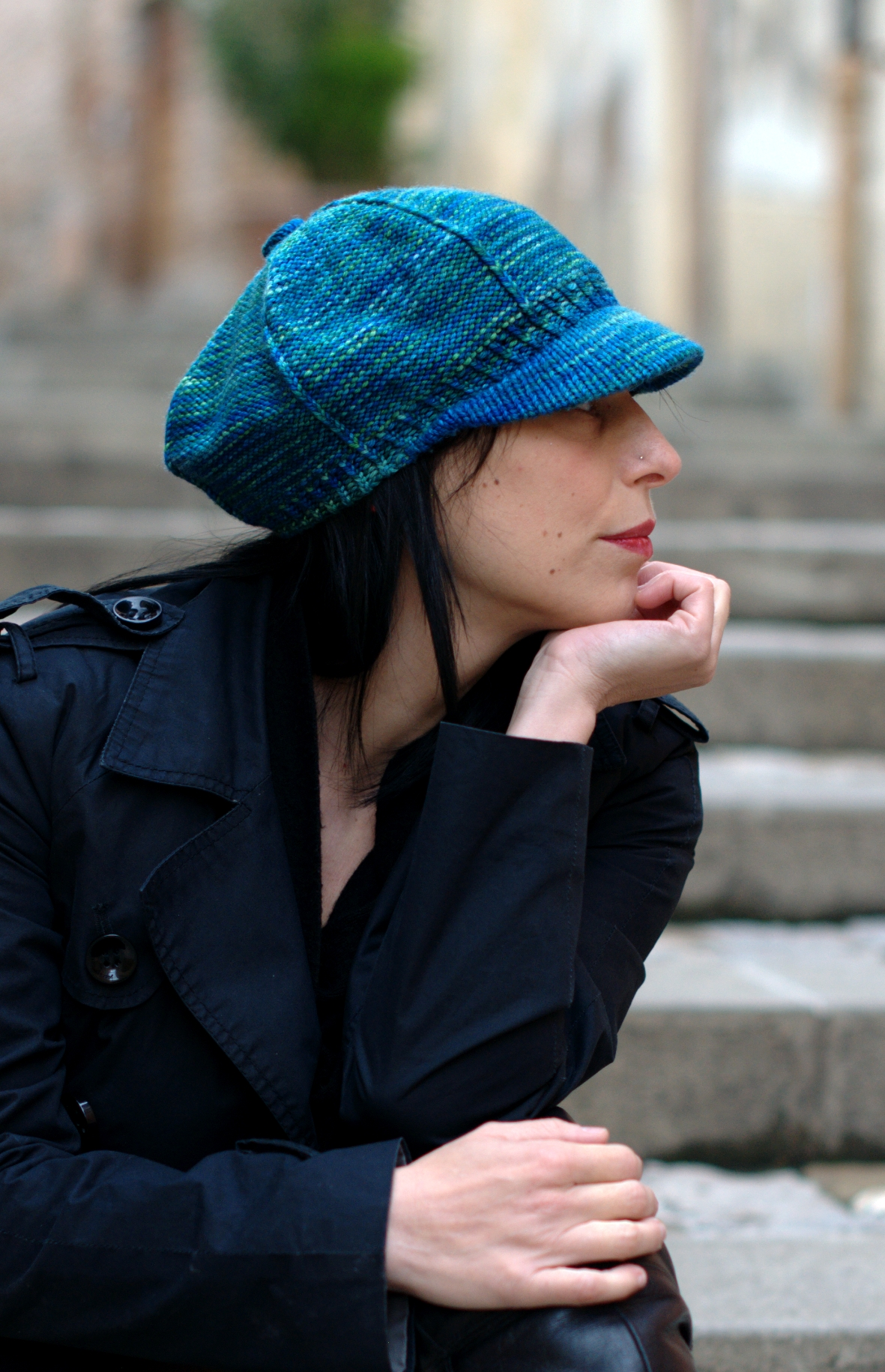 Camden Cap retro peak billed Hat knitting pattern