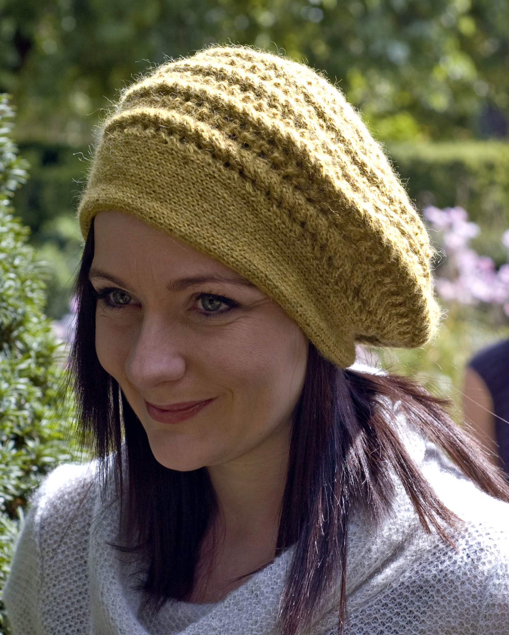 Enroule sideways knit cable and lace beret pattern