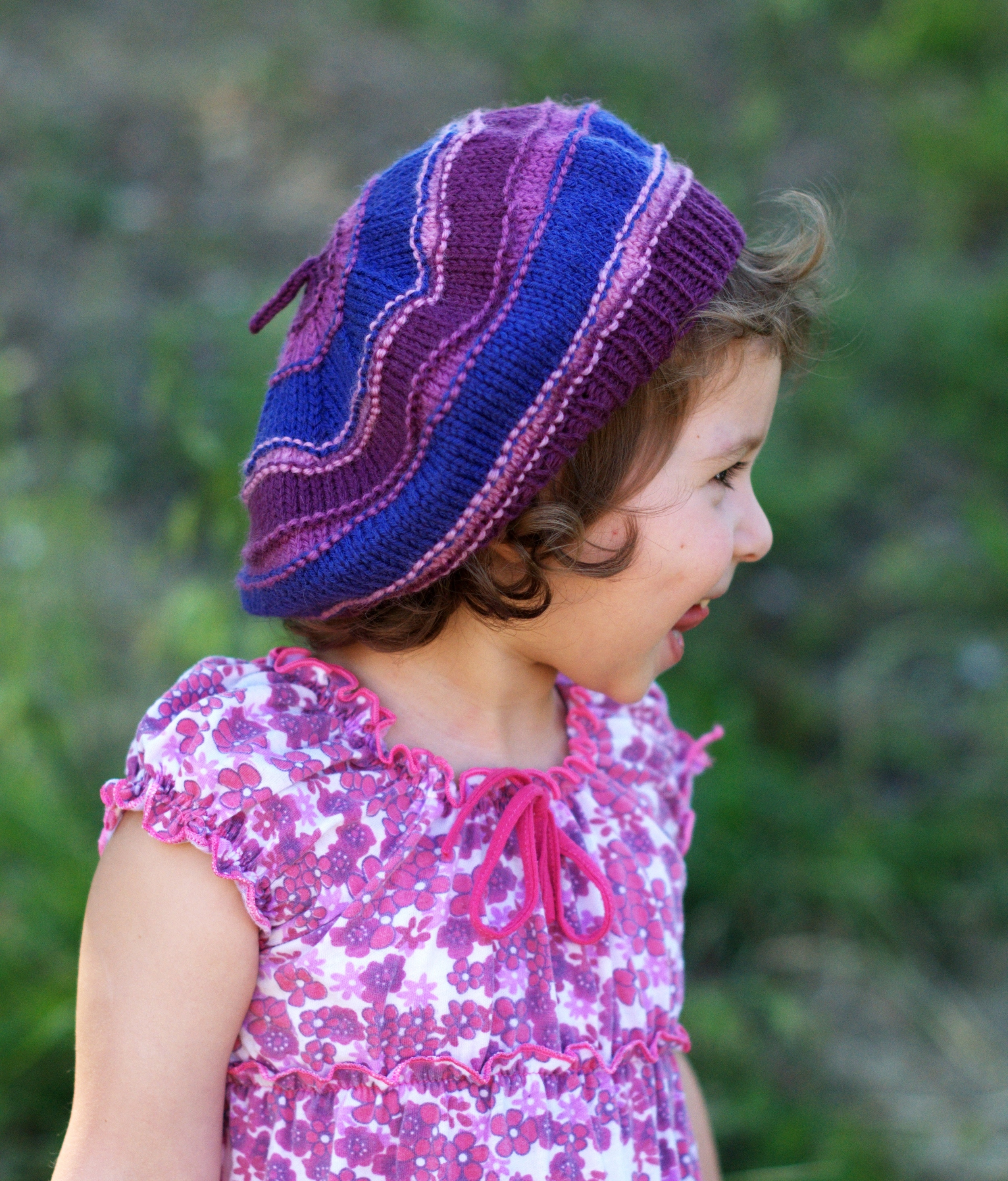 Corby striped childrens beret knitting pattern