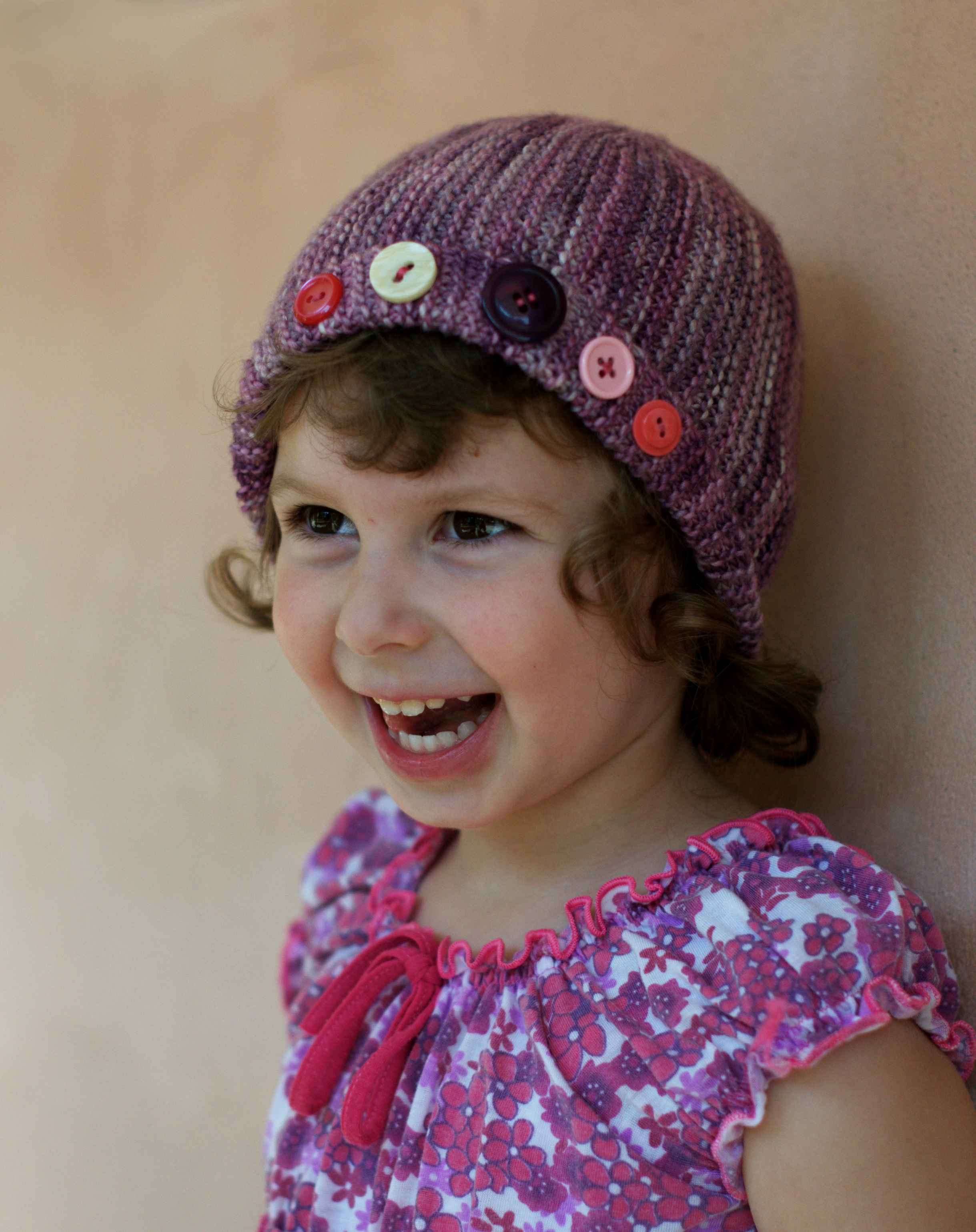 Damsel sideways knit childs cloche Hat pattern
