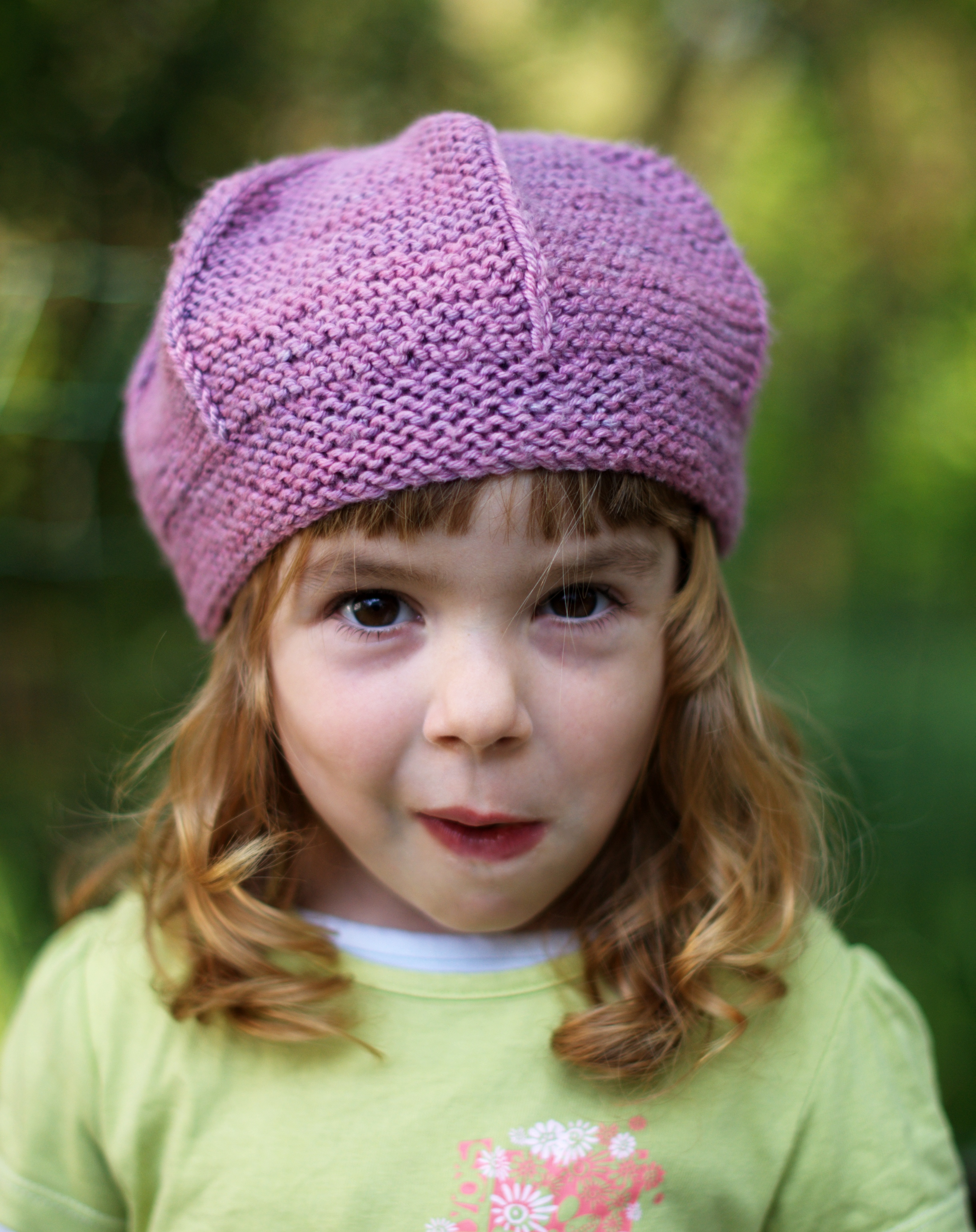 Queenie childs garter stitch beret knitting pattern
