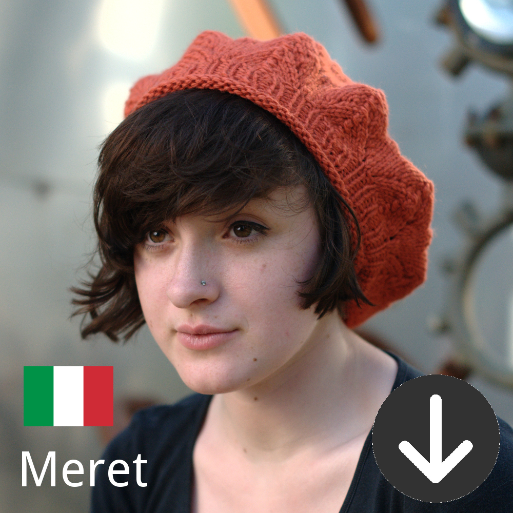 free Meret lace beret knitting pattern in Italian