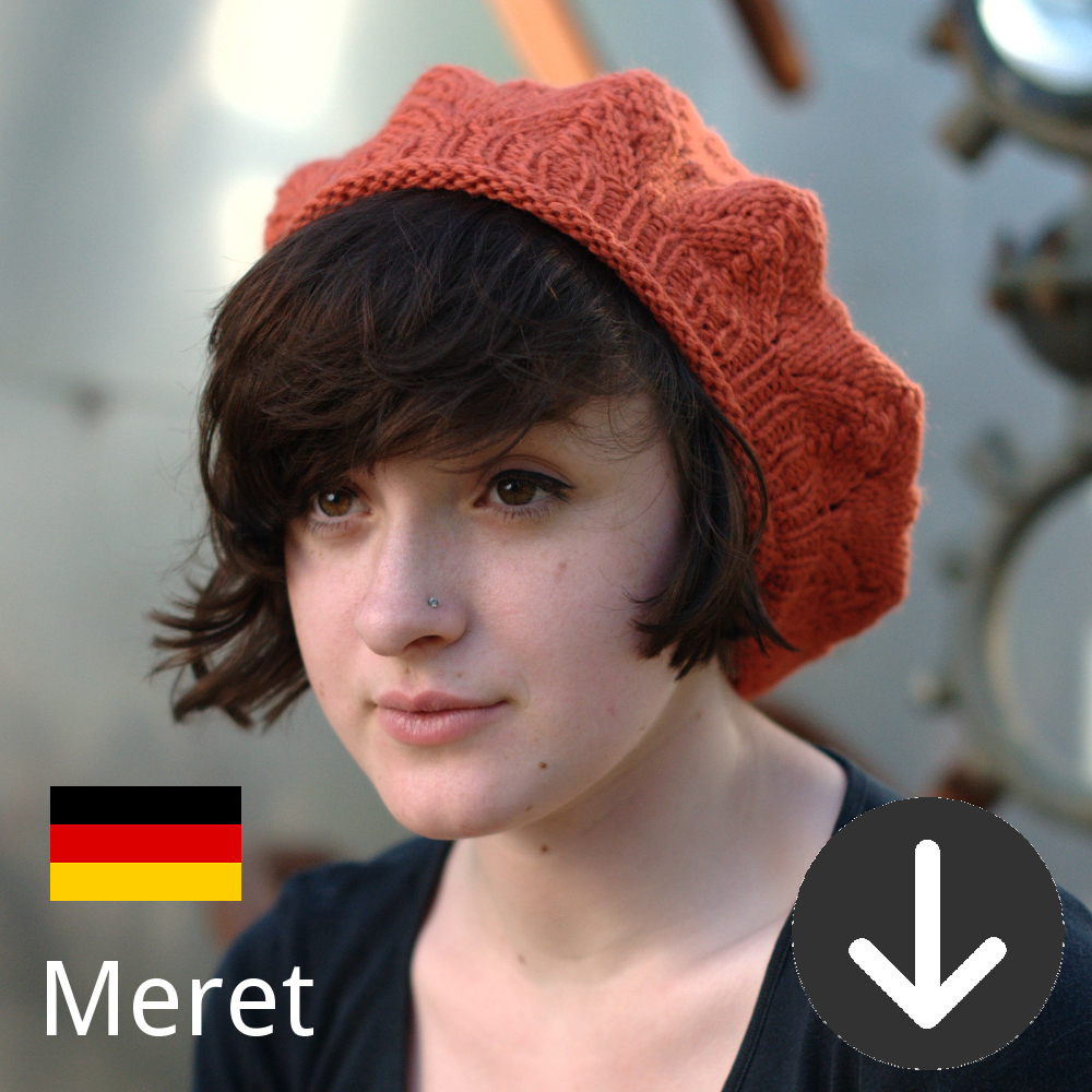 free Meret lace beret knitting pattern in German