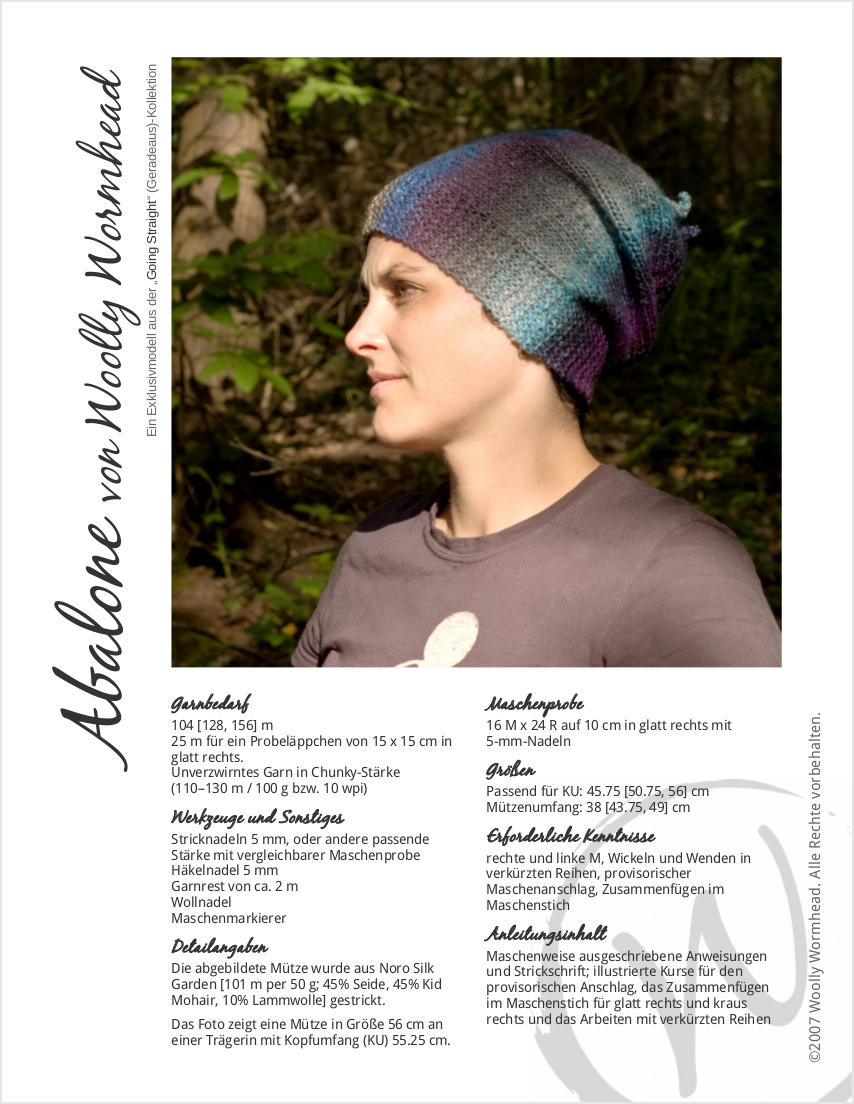 Abalone slouchy Hat pattern GER