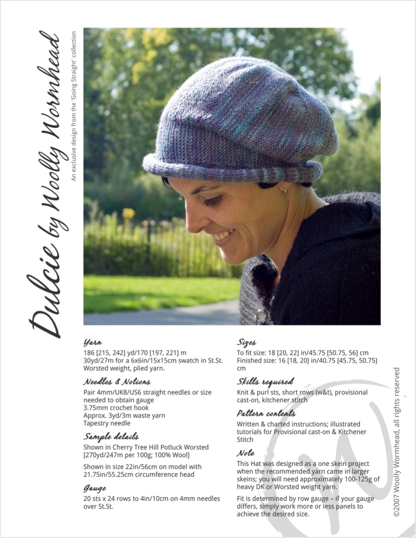 Dulcie sideways knit brimmed Hat pattern