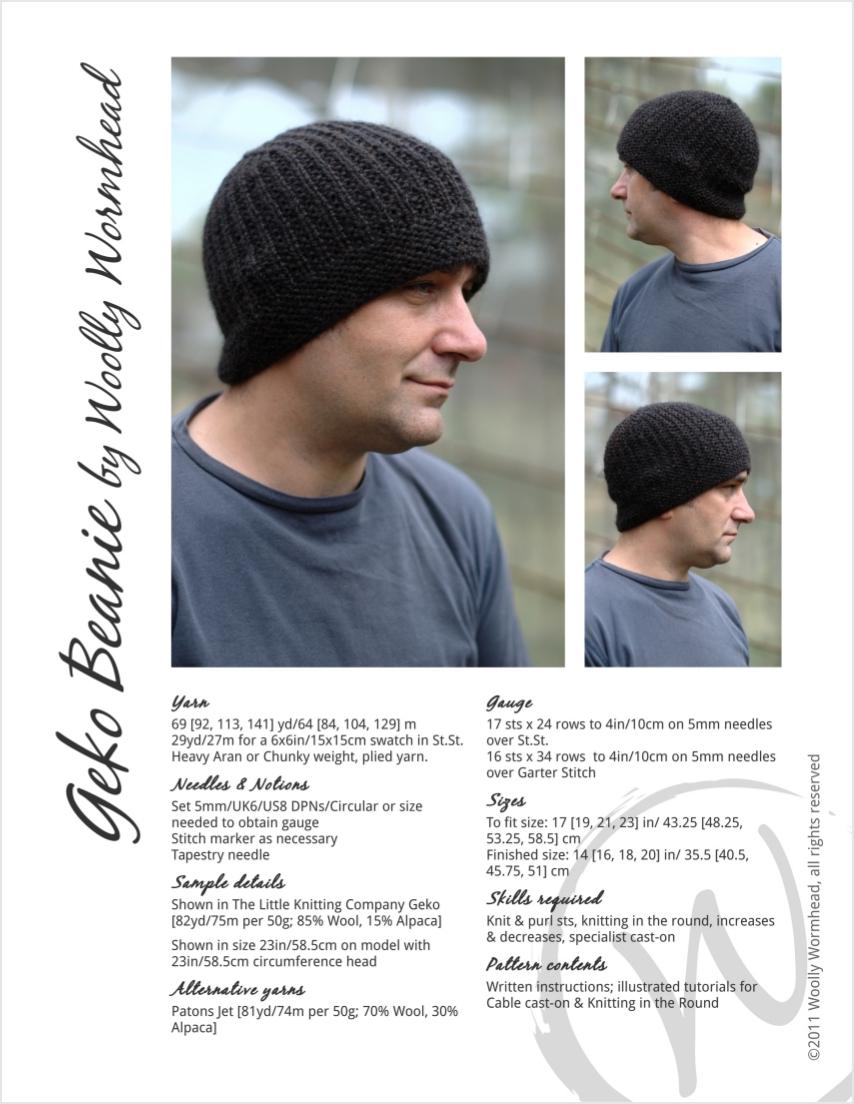 Geko Beanie knitting pattern