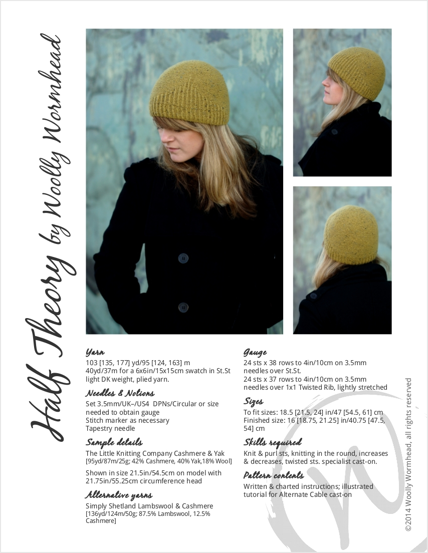Half Theory beanie knitting pattern
