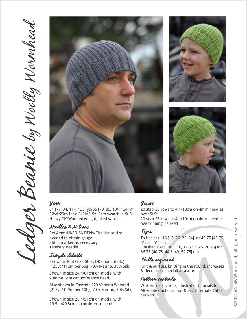 Ledger Beanie knitting pattern