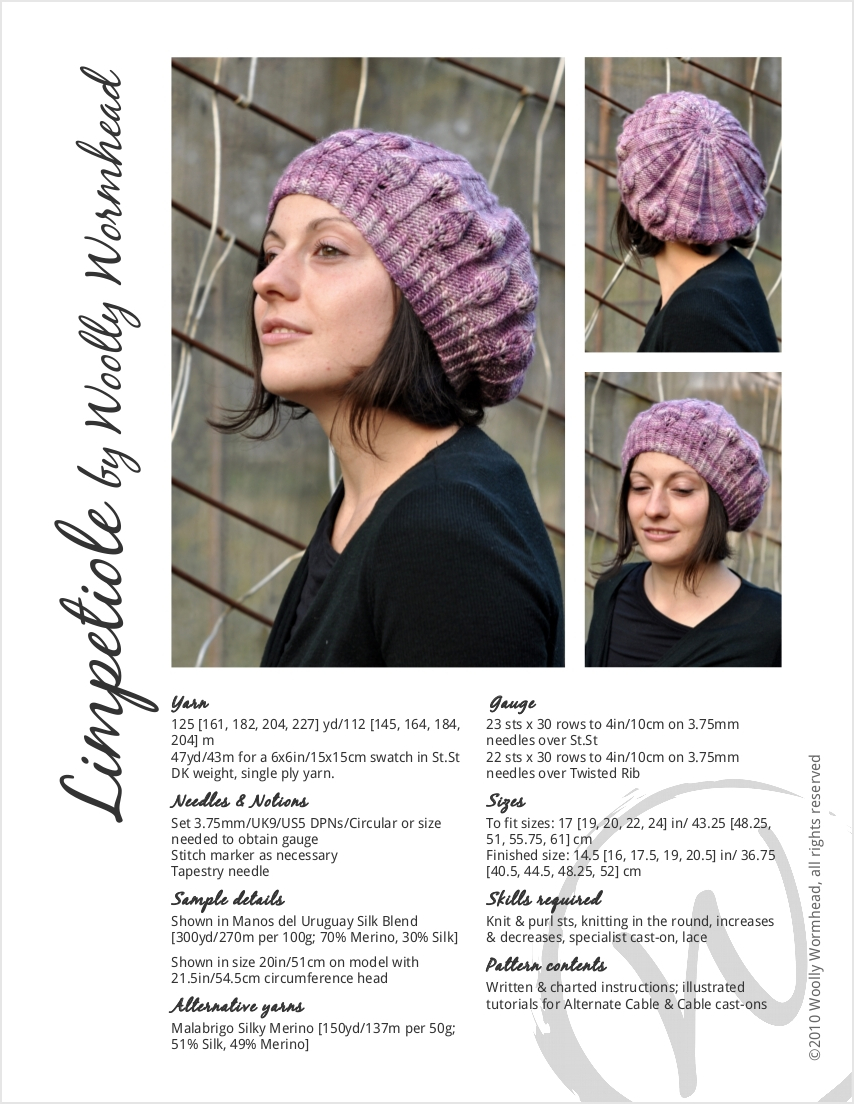 Limpetiole lace beret knitting pattern