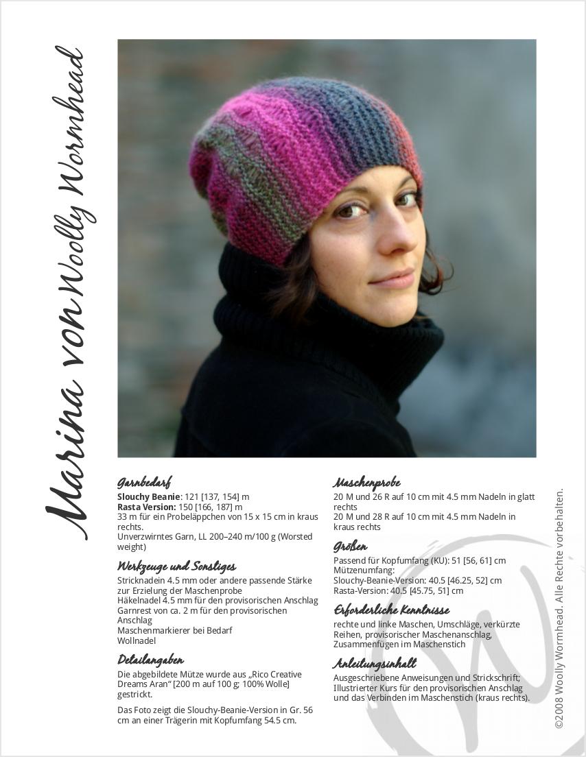 Marina sideways knit slouchy lace Hat pattern GER