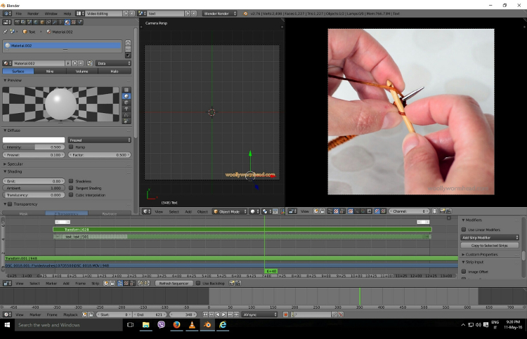 the latest IG video being edited in Blender, the open source animation software