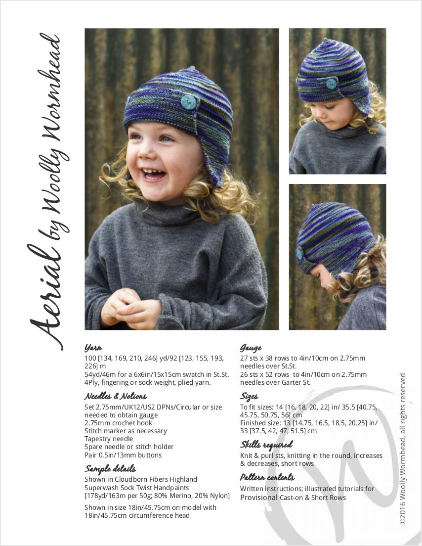 Aerial earflap aviator Hat knitting pattern for sock yarn