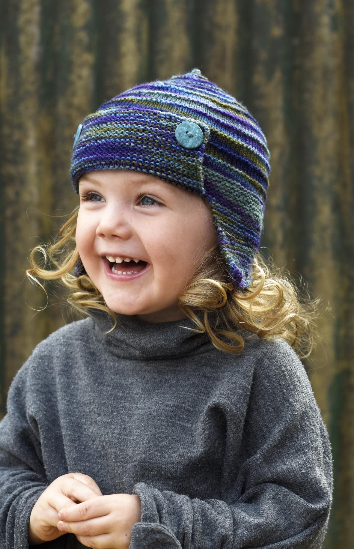 Aerial hand knitting pattern for aviator Hat in sock yarn
