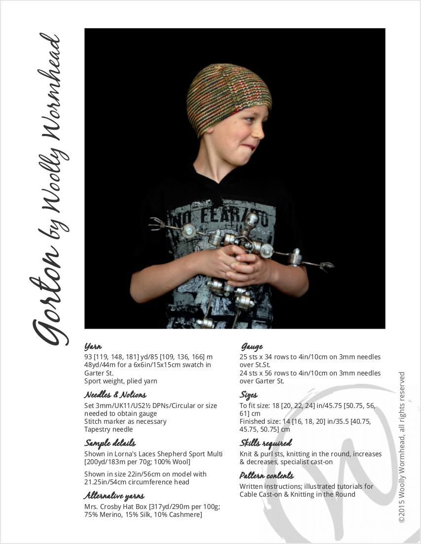 Gorton beanie knitting pattern