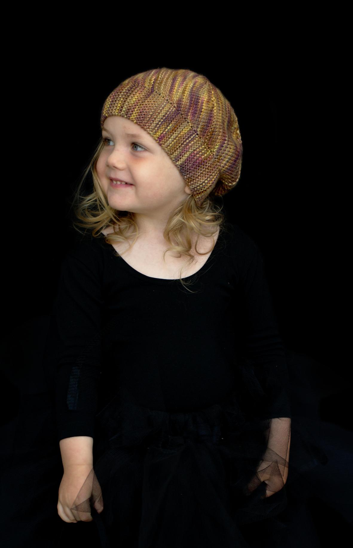 Modbury hand knitting pattern for bias sideways slouchy Hat