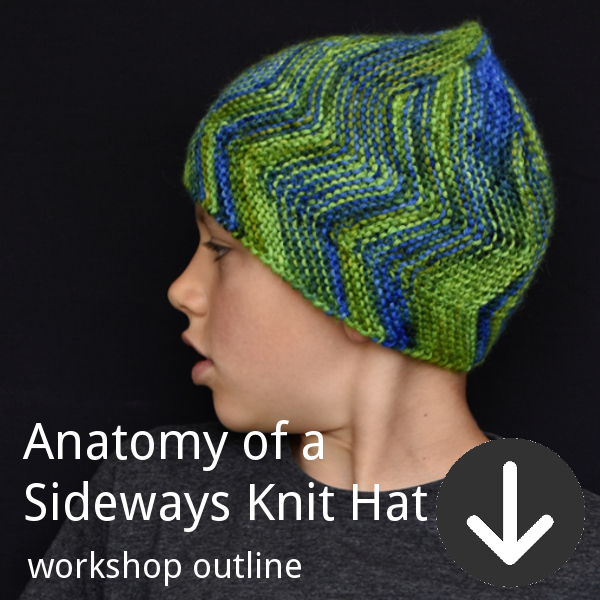 Workshop outline for Woolly Wormhead's Anatomy of a Sideways Knit Hat class