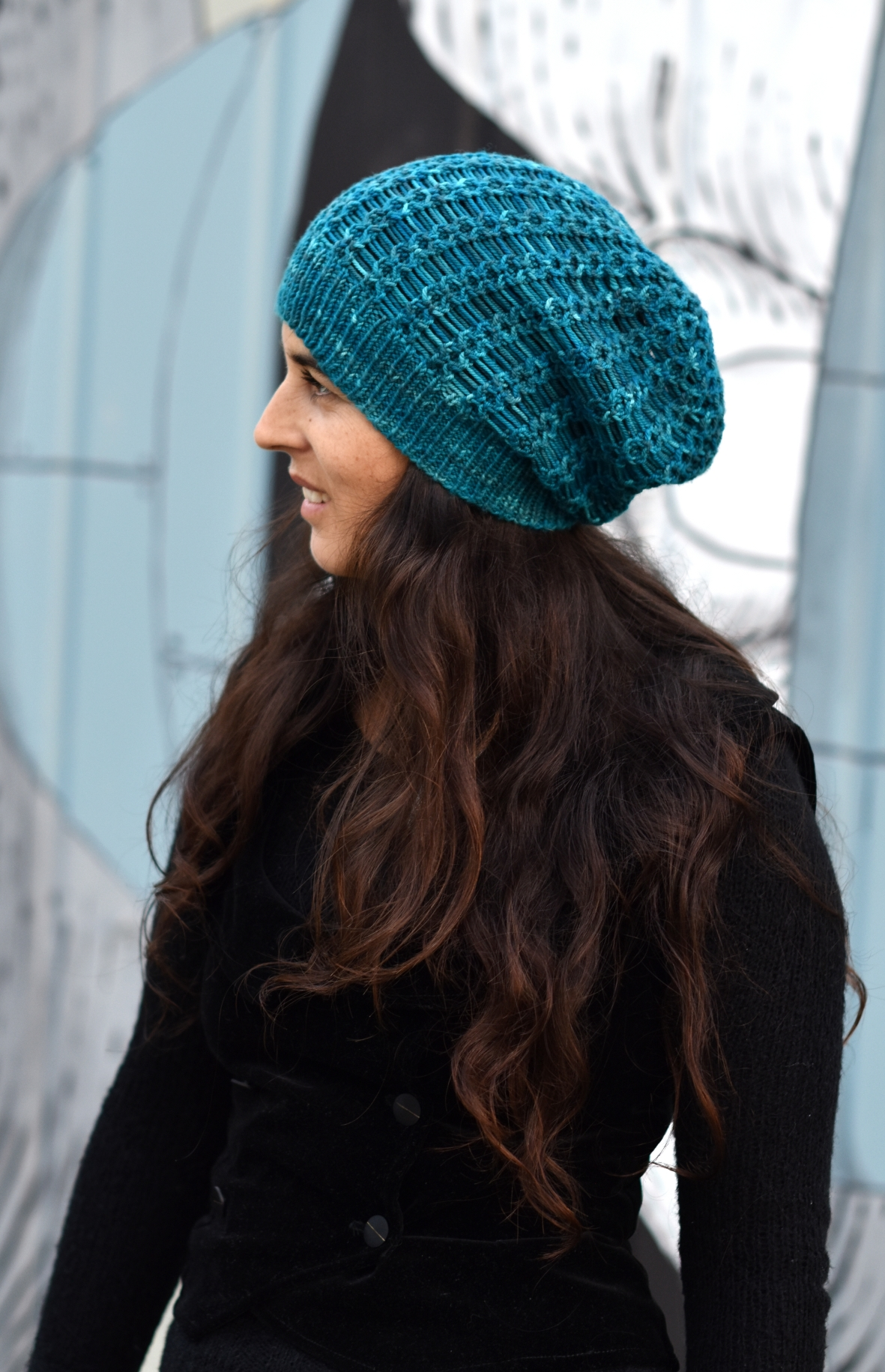 Scala cable and drop stitch slouchy Hat hand knitting pattern
