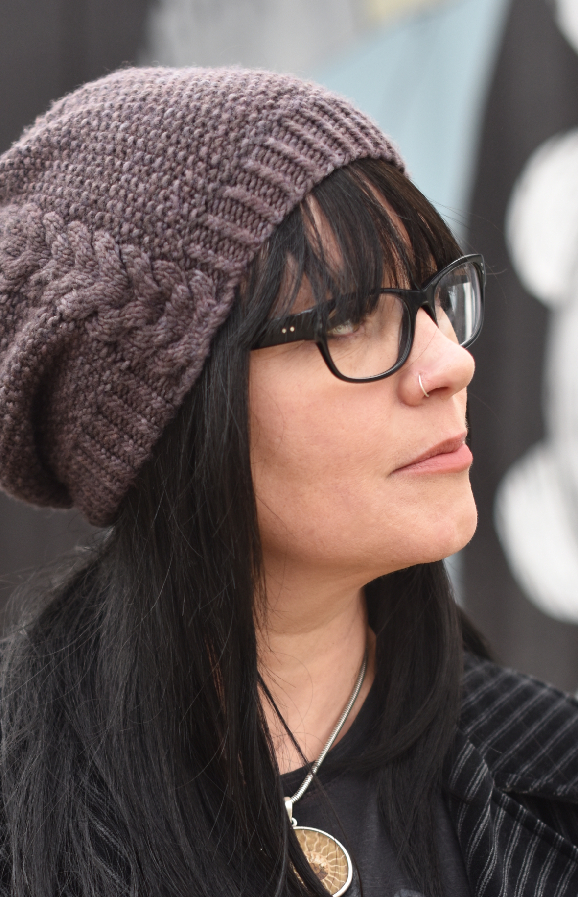 Kernmantle slouchy cabled Hat hand knitting pattern