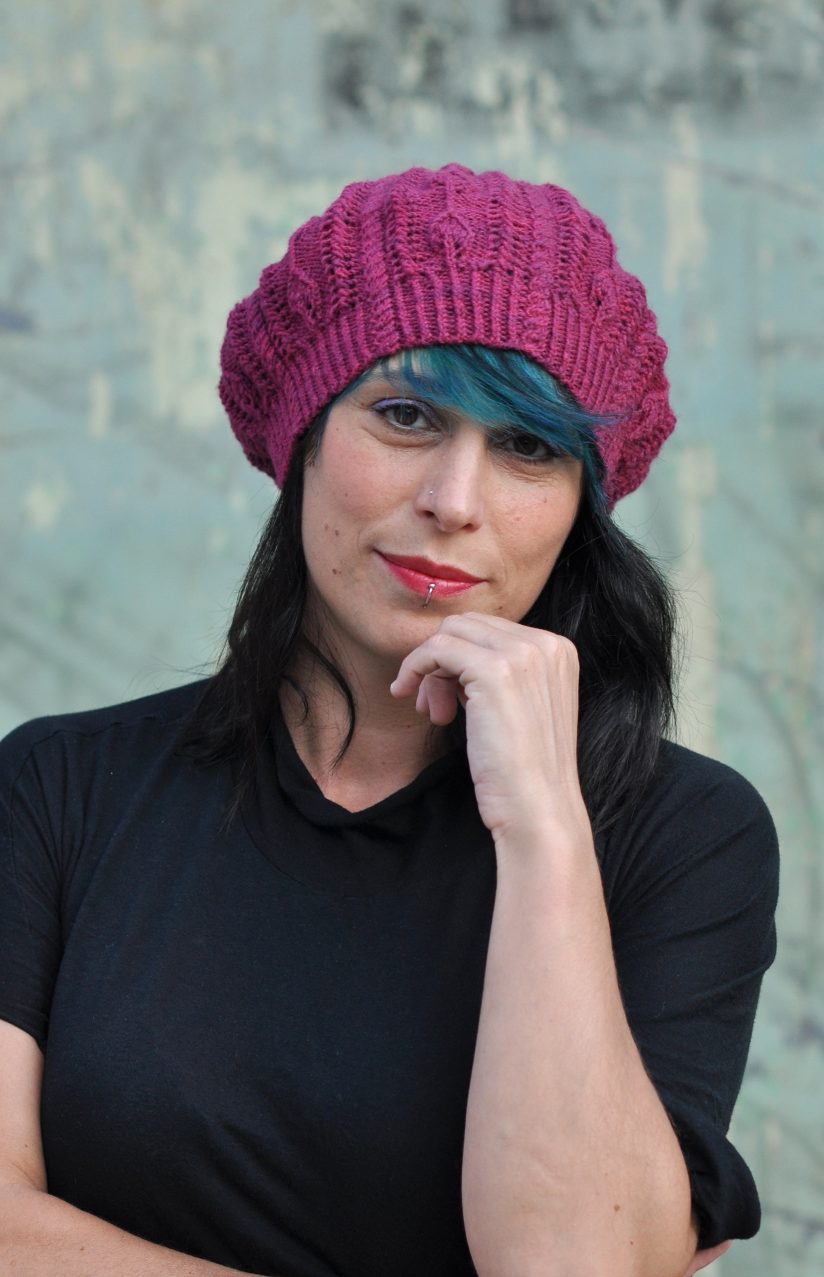 Bellefleur cable and lace slouchy beret Hat knitting pattern