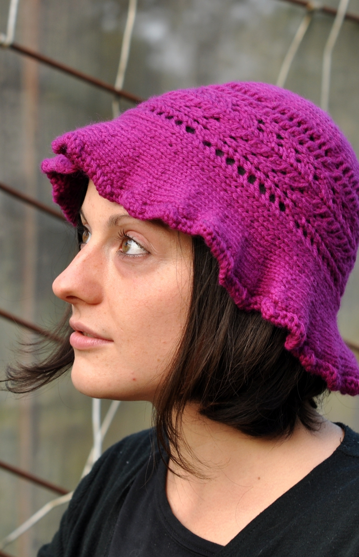 Molly sideways knit brimmed lace summer Hat knitting pattern