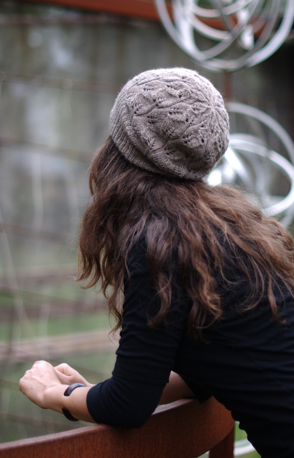 Everglade popular lace slouch Hat knitting pattern